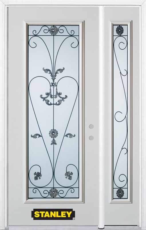 52-inch x 82-inch Blacksmith Full Lite White Steel Entry Door with Sidelite and Brickmould