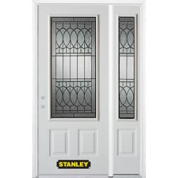 Stanley Doors 48.25 inch x 82.375 inch Nightingale Patina 3/4 Lite 2-Panel Prefinished White Right-Hand Inswing Steel Prehung Front Door with Sidelite and Brickmould