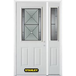 Stanley Doors 48.25 inch x 82.375 inch Bellochio Patina 1/2 Lite 2-Panel Prefinished White Left-Hand Inswing Steel Prehung Front Door with Sidelite and Brickmould