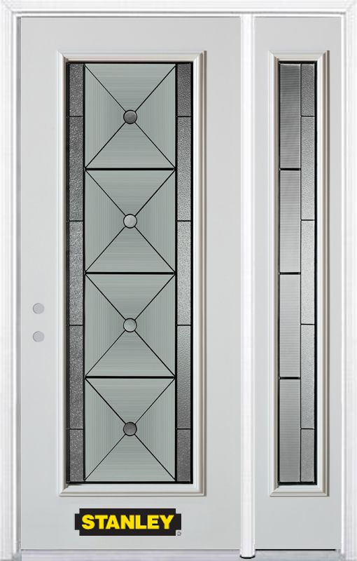 50-inch x 82-inch Bellochio Full Lite White Steel Entry Door with Sidelite and Brickmould