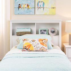 Prepac Dossier de lit simple à compartiments, blanc