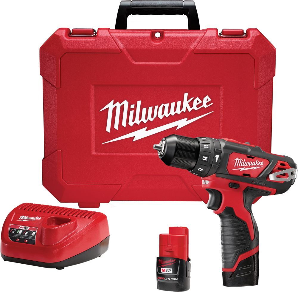 M12 12V Lithium-Ion Cordless 3/8-inch Hammer Drill/Driver Kit with (2) 1.5Ah Batteries and Hard Case