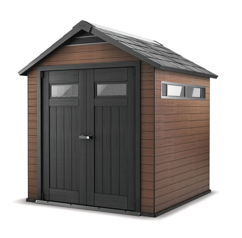 Keter keter fusion wood plastic composite shed 7 5 ft x for 2 storage house