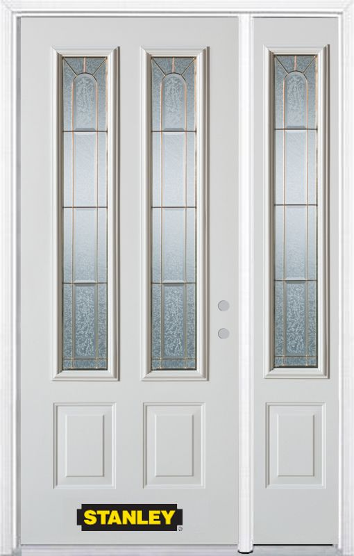 Stanley Doors 48.25 inch x 82.375 inch Elisabeth Brass 2-Lite 2-Panel Prefinished White Left-Hand Inswing Steel Prehung Front Door with Sidelite and Brickmould