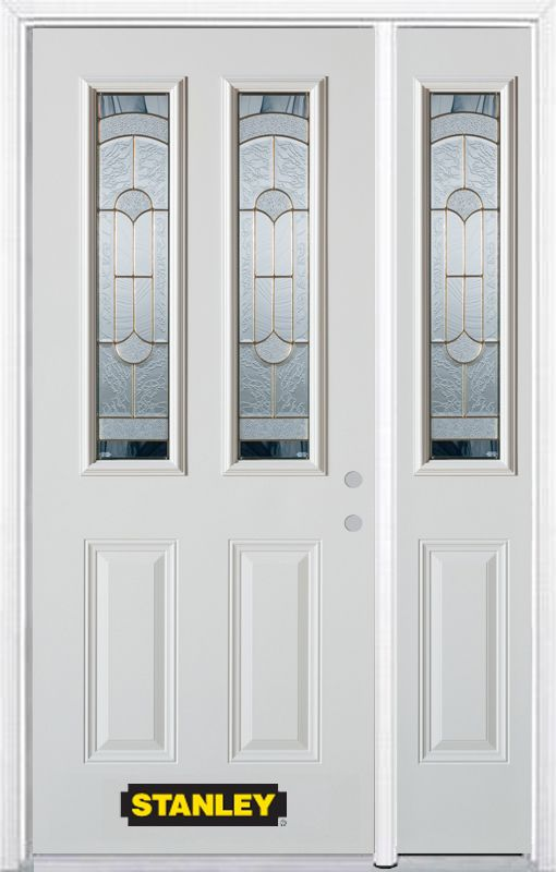 Stanley Doors 52.75 inch x 82.375 inch Radiance Brass 2-Lite 2-Panel Prefinished White Left-Hand Inswing Steel Prehung Front Door with Sidelite and Brickmould
