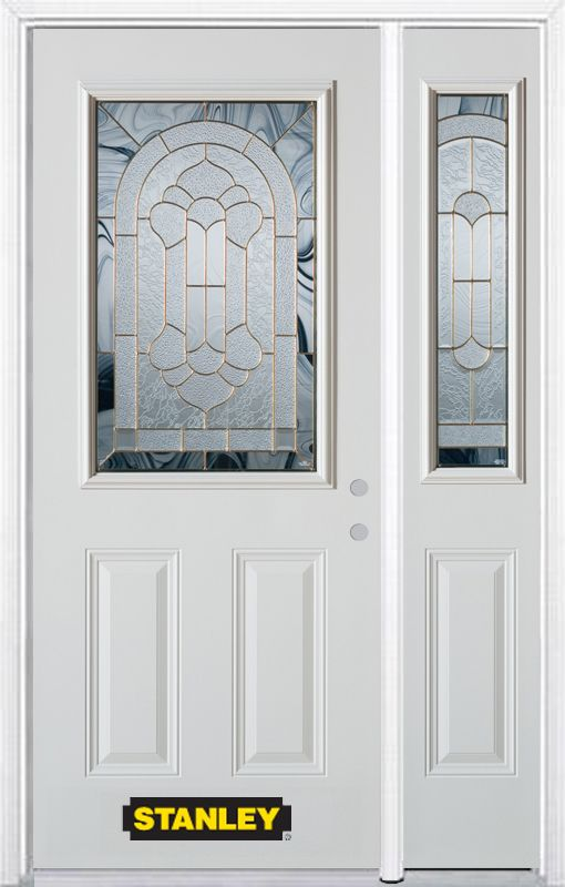Stanley Doors 50.25 inch x 82.375 inch Radiance Brass 1/2 Lite 2-Panel Prefinished White Left-Hand Inswing Steel Prehung Front Door with Sidelite and Brickmould