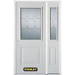 Stanley Doors Porte dentrée en acier préfini en blanc, munie d'un panneau et dun 1/2 verre, 53 po x 82 po avec panneaux latéraux et moulure de brique - ENERGY STAR®