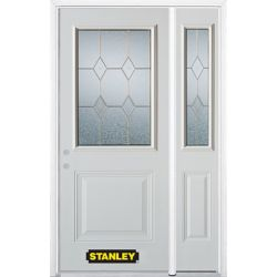 STANLEY Doors 52.75 inch x 82.375 inch Tulip Brass 1/2 Lite 1-Panel Prefinished White Right-Hand Inswing Steel Prehung Front Door with Sidelite and Brickmould - ENERGY STAR®