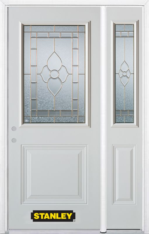 48-inch x 82-inch Marguerite 1/2-Lite 1-Panel White Steel Entry Door with Sidelite and Brickmould