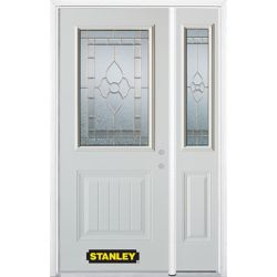 Stanley Doors 48.25 inch x 82.375 inch Marguerite Brass 1/2 Lite 1-Panel Prefinished White Left-Hand Inswing Steel Prehung Front Door with Sidelite and Brickmould