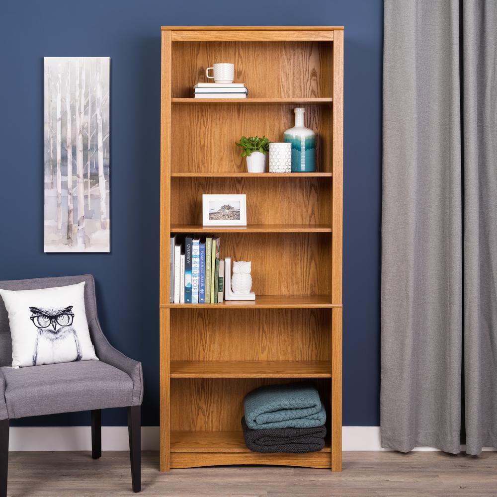 Prepac Oak 6 Shelf Bookcase
