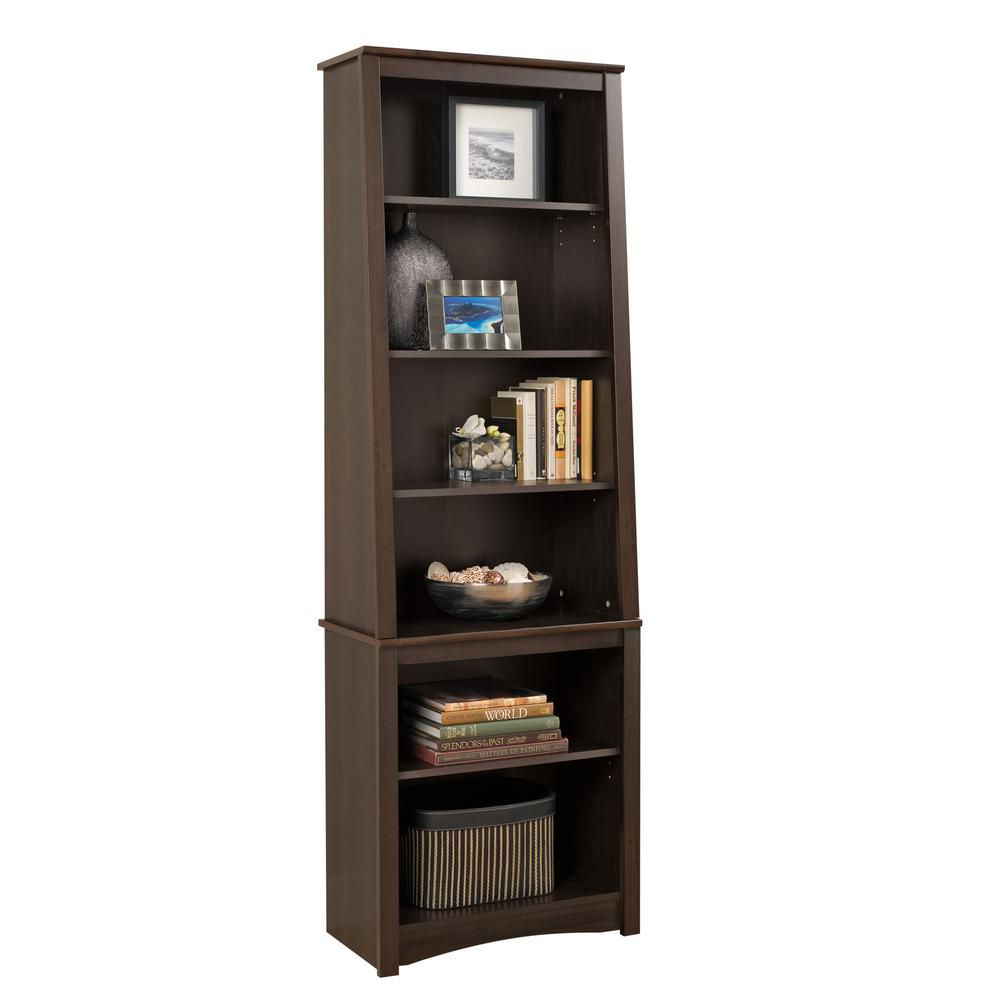 Prepac 26.25-inch x 80-inch x 14.25-inch 6-Shelf Manufactured Wood Bookcase in Espresso