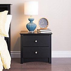 Sonoma 23.25-inch x 21.75-inch x 16-inch 2-Drawer Nightstand in Black