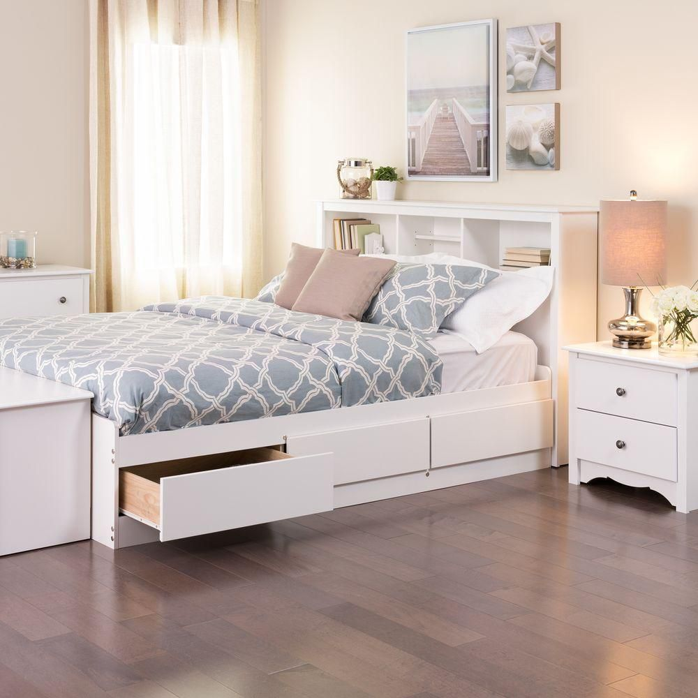White Full Mates Platform Storage Bed with 6 Drawers