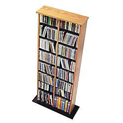 Prepac Oak & Black Double Multimedia Storage Tower