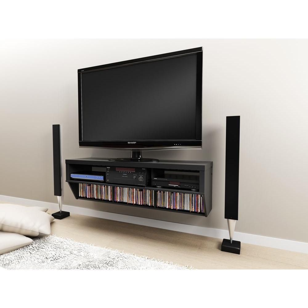 Black 58 Inch Wide Wall Mounted AV Console - Series 9 Designer Collection
