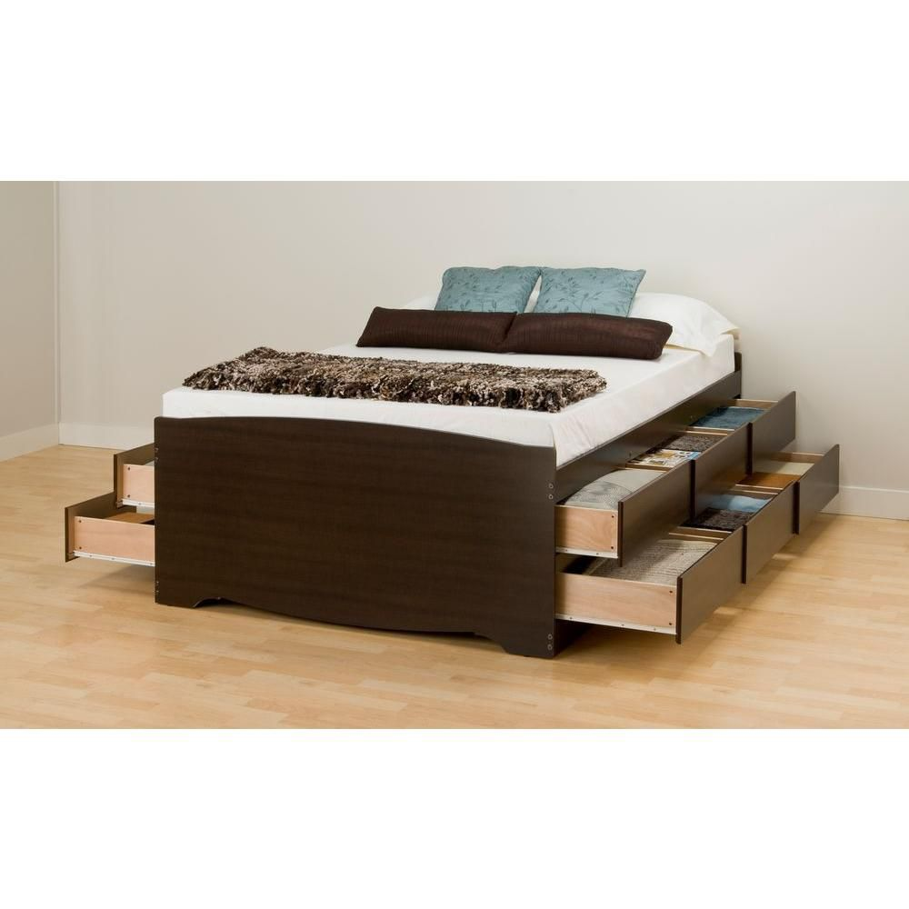Espresso Tall Full Captains Platform Storage Bed with 12 Drawers