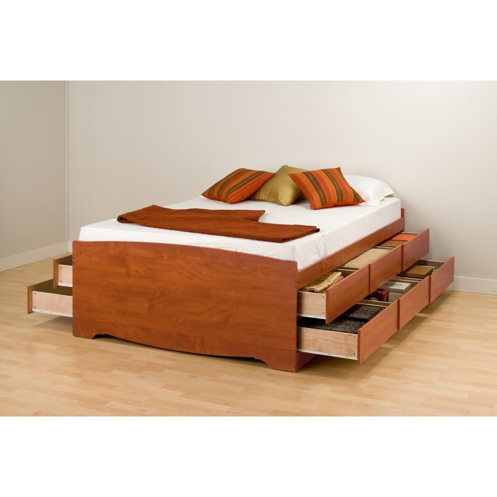 Base de lit capitaine haute à douze tiroirs, pour grand lit, fini cerisier