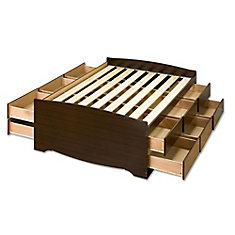 Tall Queen Captain's Platform Storage Bed in Espresso with 12 Drawers