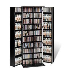 Prepac Black Grande Locking Media Storage Cabinet with Shaker Doors