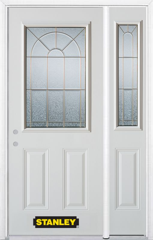 Stanley Doors 48.25 inch x 82.375 inch Elisabeth Brass 1/2 Lite 2-Panel Prefinished White Right-Hand Inswing Steel Prehung Front Door with Sidelite and Brickmould
