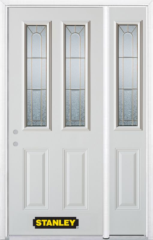 Stanley Doors 50.25 inch x 82.375 inch Elisabeth Brass 2-Lite 2-Panel Prefinished White Right-Hand Inswing Steel Prehung Front Door with Sidelite and Brickmould