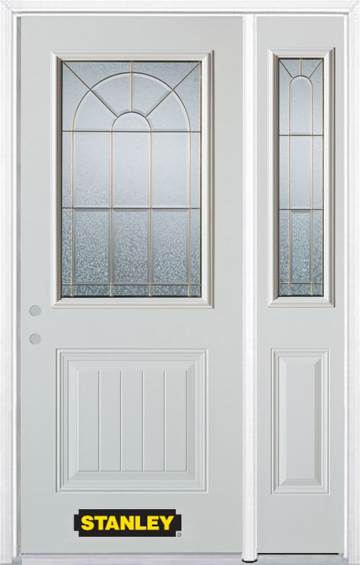 48-inch x 82-inch Elisabeth 1/2-Lite 1-Panel White Steel Entry Door with Sidelite and Brickmould