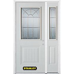 Stanley Doors Porte dentrée en acier préfini en blanc, munie d'un panneau et dun 1/2 verre, 49 po x 82 po avec panneaux latéraux et moulure de brique