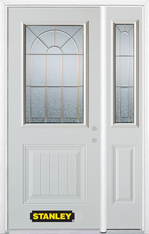 Stanley Doors 48.25 inch x 82.375 inch Elisabeth Brass 1/2 Lite 1-Panel Prefinished White Left-Hand Inswing Steel Prehung Front Door with Sidelite and Brickmould
