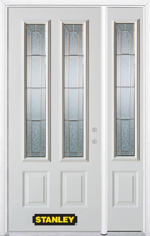 Porte dentrée en acier préfini en blanc, munie de deux panneaux et de deux verre, 53 po x 82 po a...