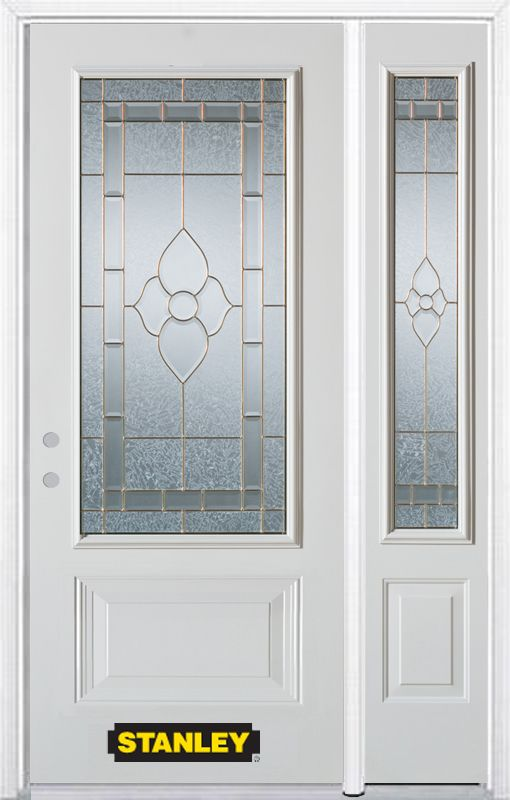 Stanley Doors 52.75 inch x 82.375 inch Marguerite Brass 3/4 Lite 1-Panel Prefinished White Right-Hand Inswing Steel Prehung Front Door with Sidelite and Brickmould - ENERGY STAR®