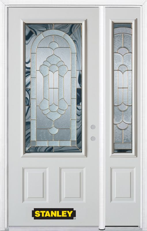 48 In. x 82 In. 3/4 Lite 2-Panel Pre-Finished White Steel Entry Door with Sidelite and Brickmould 1016E-1RESL-32-L Canada Discount