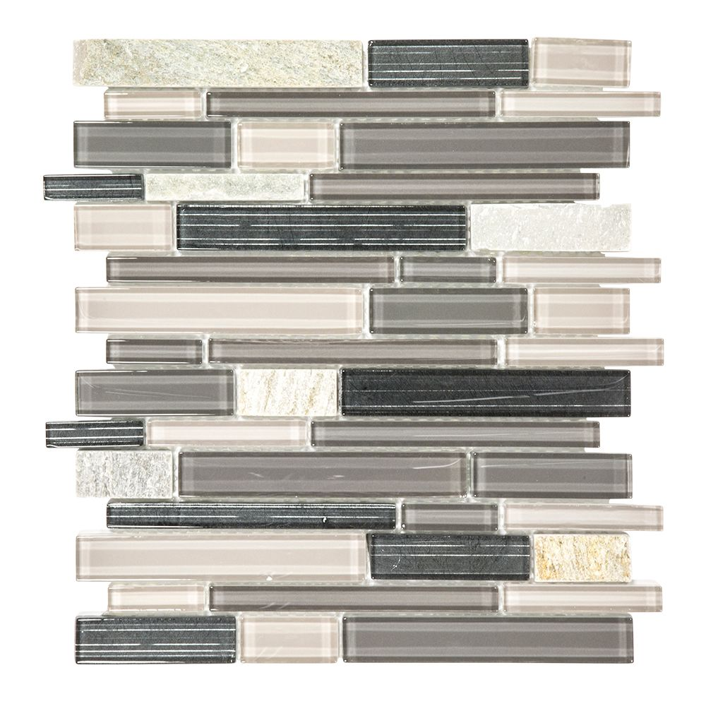 Platinum Pearl Pencil 12 Inch x 12 Inch Glass And Quartz Mosaic Wall Tile