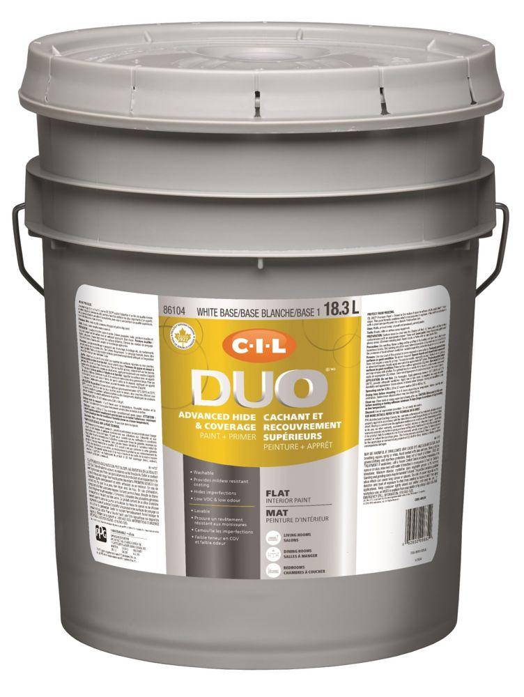 Peinture dintérieur CIL DUO fini mat - Base blanche / Base 1, 18,3 L