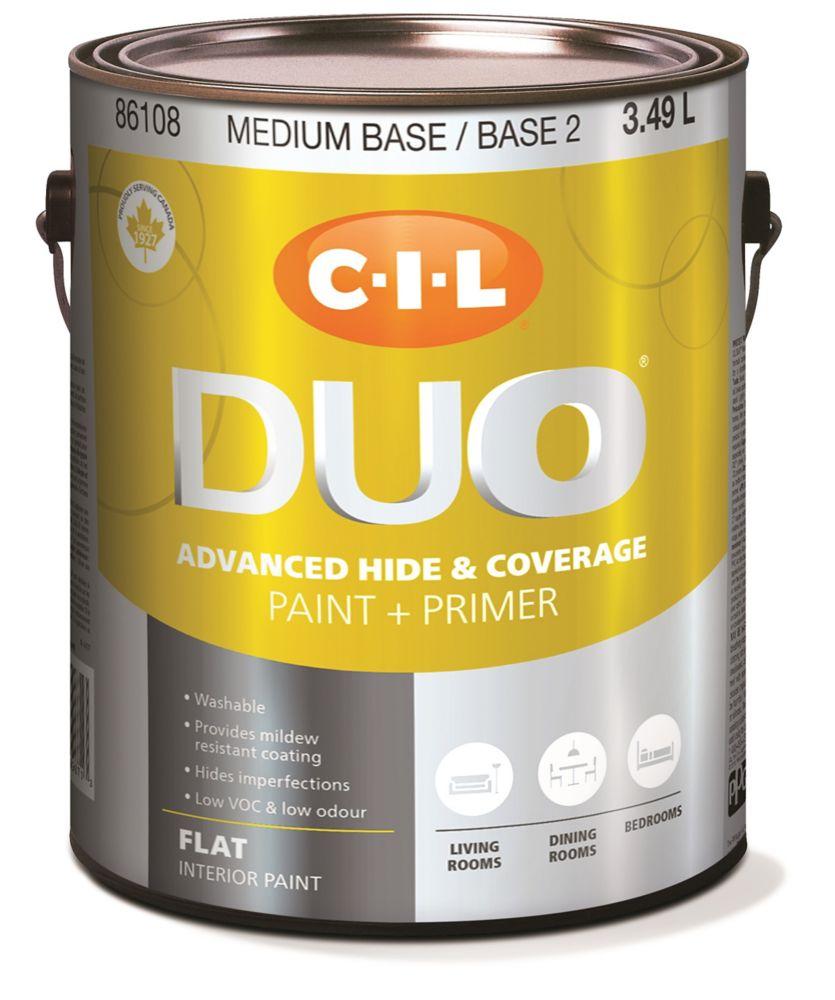 Peinture dintérieur CIL DUO fini mat - Base moyenne / Base 2, 3,49 L