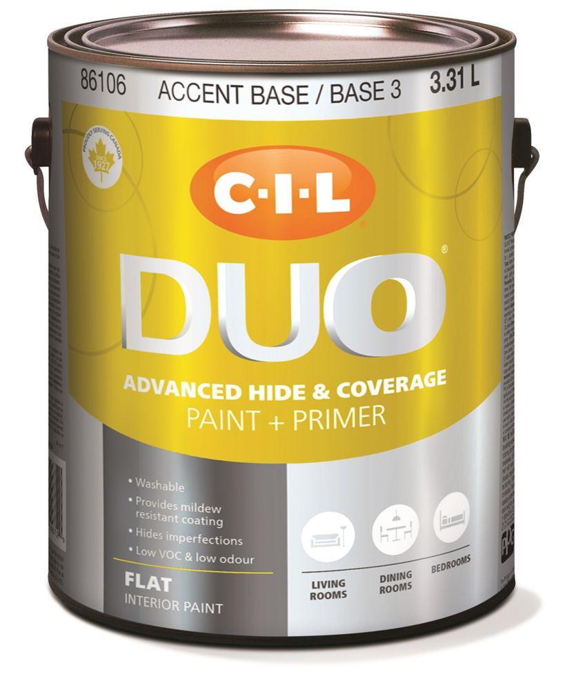 Peinture dintérieur CIL DUO fini mat - Base accent / Base 3, 3,31 L