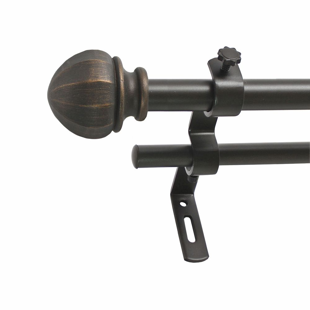 86-128 Inch 5/8 Inch Facet Ball Double Rod Set In Toasted Copper Finish