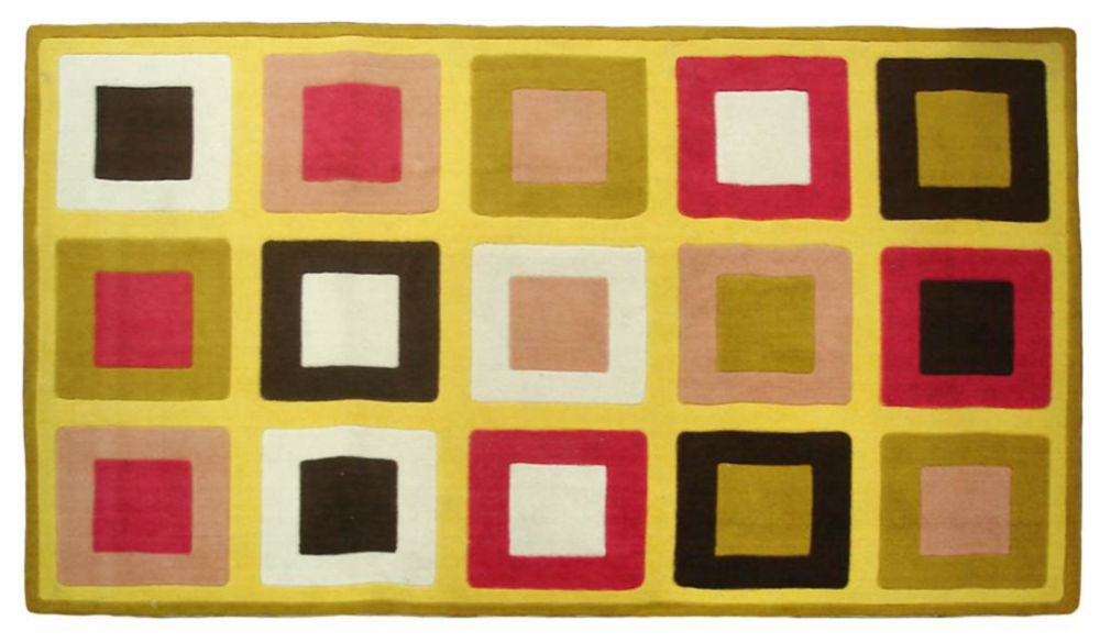 Funky Yellow and Olive 5 Ft. x 8 Ft. Area Rug
