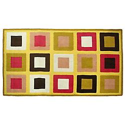 Home Decor Carpette d'intérieur, 5 pi x 8 pi, à poils longs, style contemporain, rectangulaire, jaune Funky