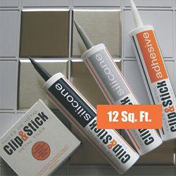 Inoxia Clips&Stick Tuiles D'acier Inoxydable Trousse De 12 Pieds Carrés Matrices d'Ancrage Grises