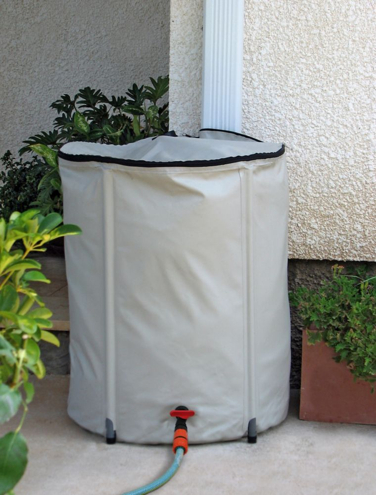 200 L Collapsible Rain Barrel with Universal Rain Diverter