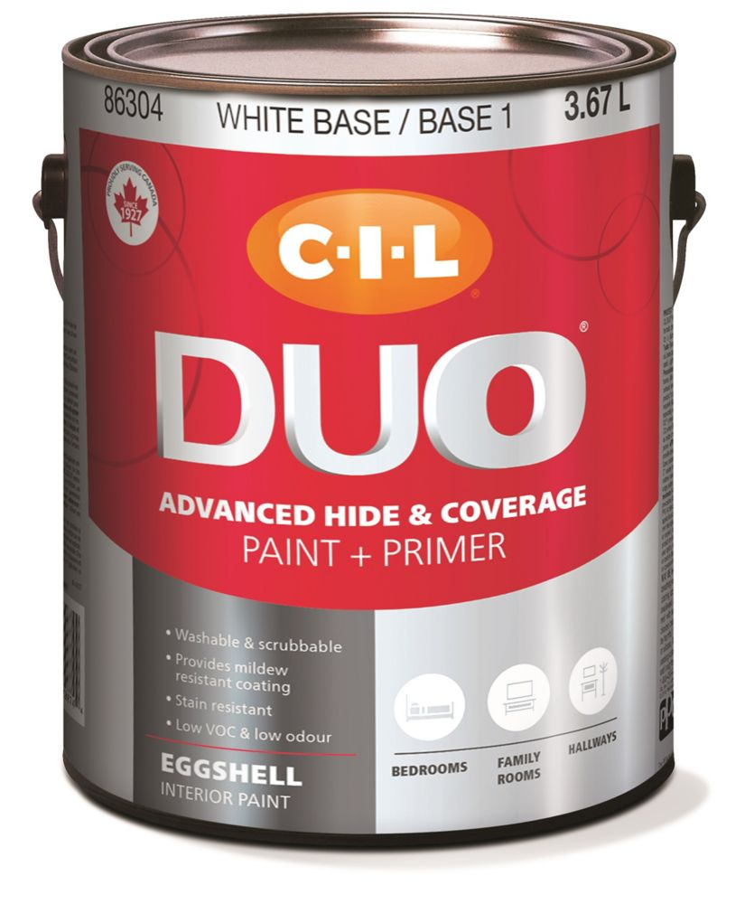Peinture dintérieur CIL DUO fini velouté - Base blanche / Base 1, 3,67 L
