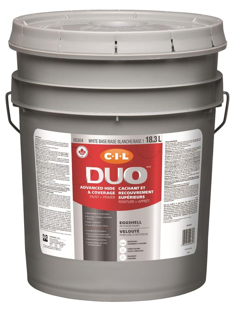 Peinture dintérieur CIL DUO fini velouté - Base blanche / Base 1, 18,3 L
