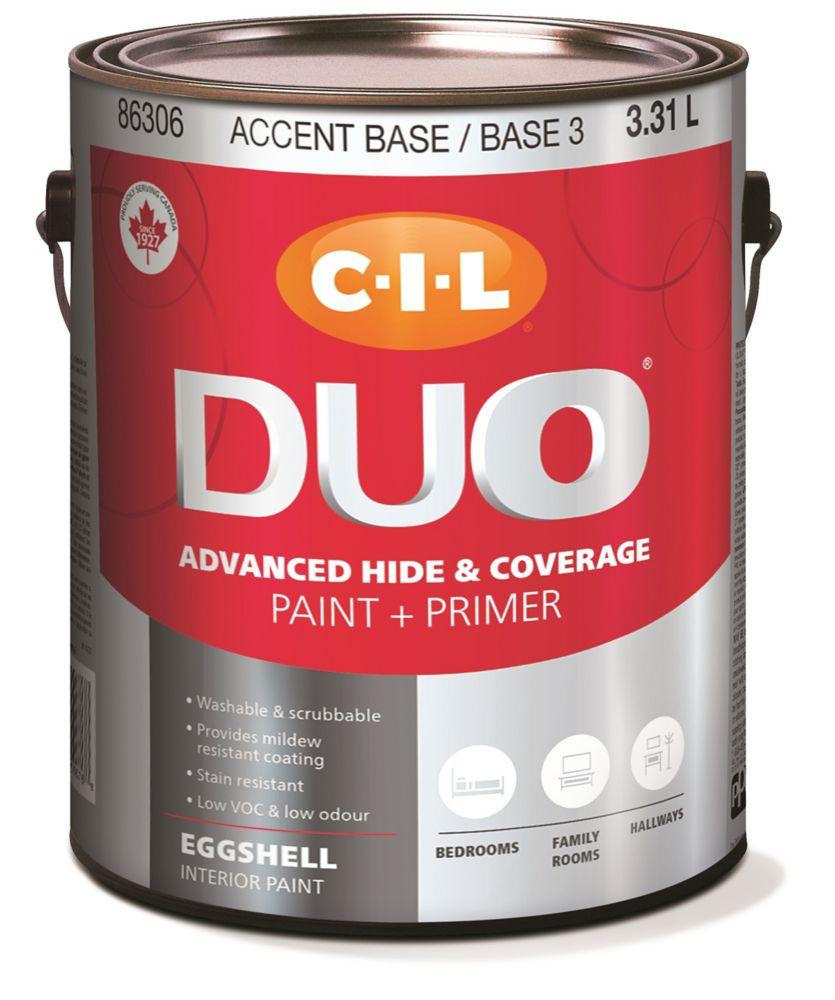 Peinture dintérieur CIL DUO fini velouté - Base accent / Base 3, 3,31 L