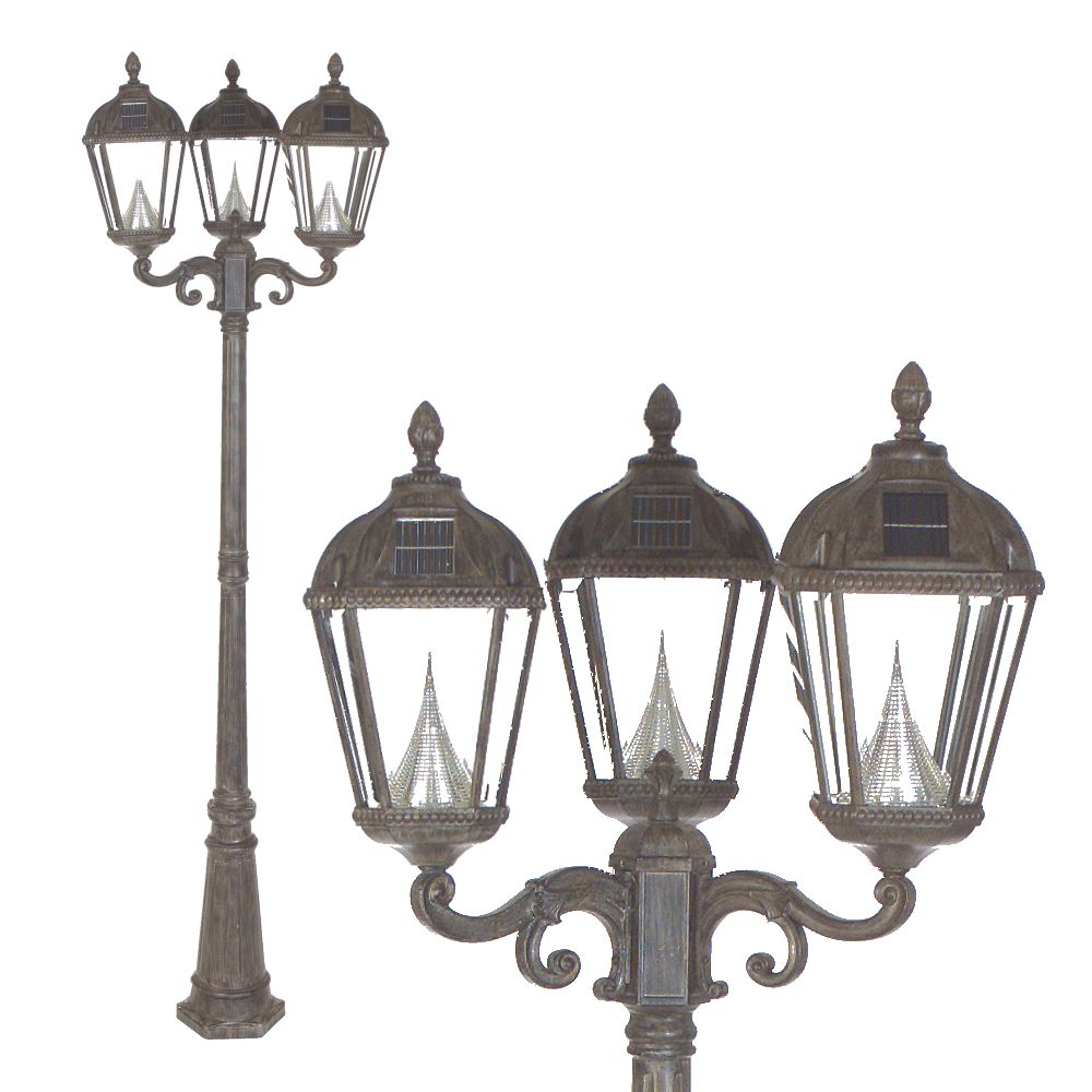 solar lamp post triple lamp weathered bronze the home depot canada. Black Bedroom Furniture Sets. Home Design Ideas