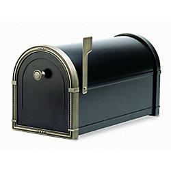 Architectural Mailboxes Black Coronado Post Mount Mailbox with Antique Bronze Accents
