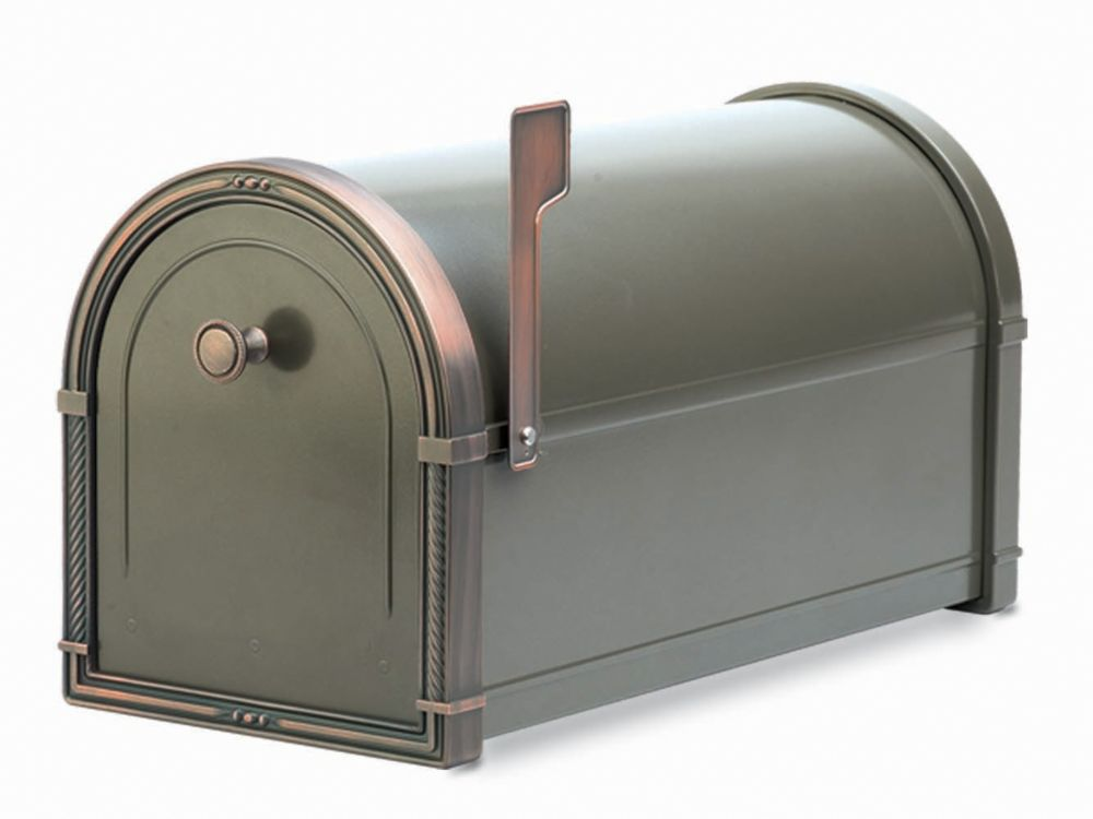 Bronze Coronado Post Mount Mailbox with Antique Copper Accents