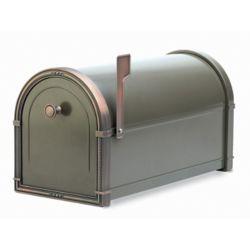 Architectural Mailboxes Boîte aux lettres Coronado bronze avec ornementations en cuivre patiné, à montage sur piédestal