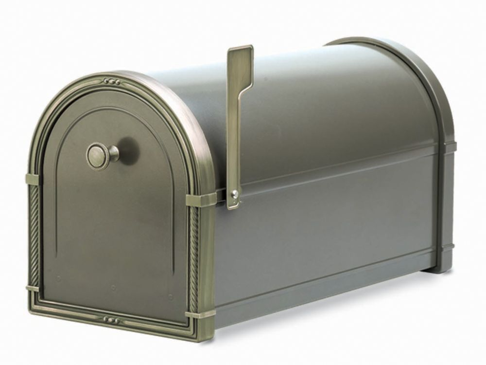 Bronze Coronado Post Mount Mailbox with Antique Bronze Accents