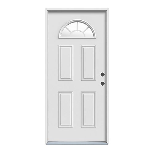 JELD-WEN Windows & Doors 36-inch x 4 9/16-inch Fan Lite Left Hand Entry Door - ENERGY STAR®